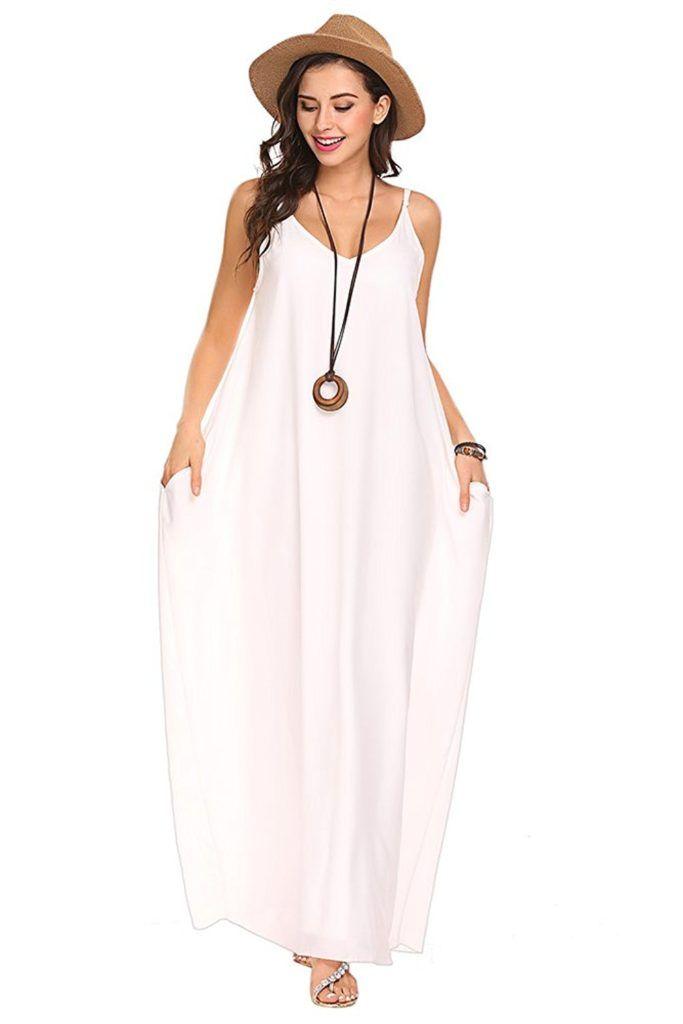 Qearal Womens Loose Strappy V Neck Boho Chiffon Pocket Long Maxi Party  Beach Dress | Beach dresses, Boho and Beach