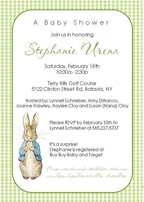 peter rabbit potter baby shower birthday invitations | baby shower, Baby shower invitations