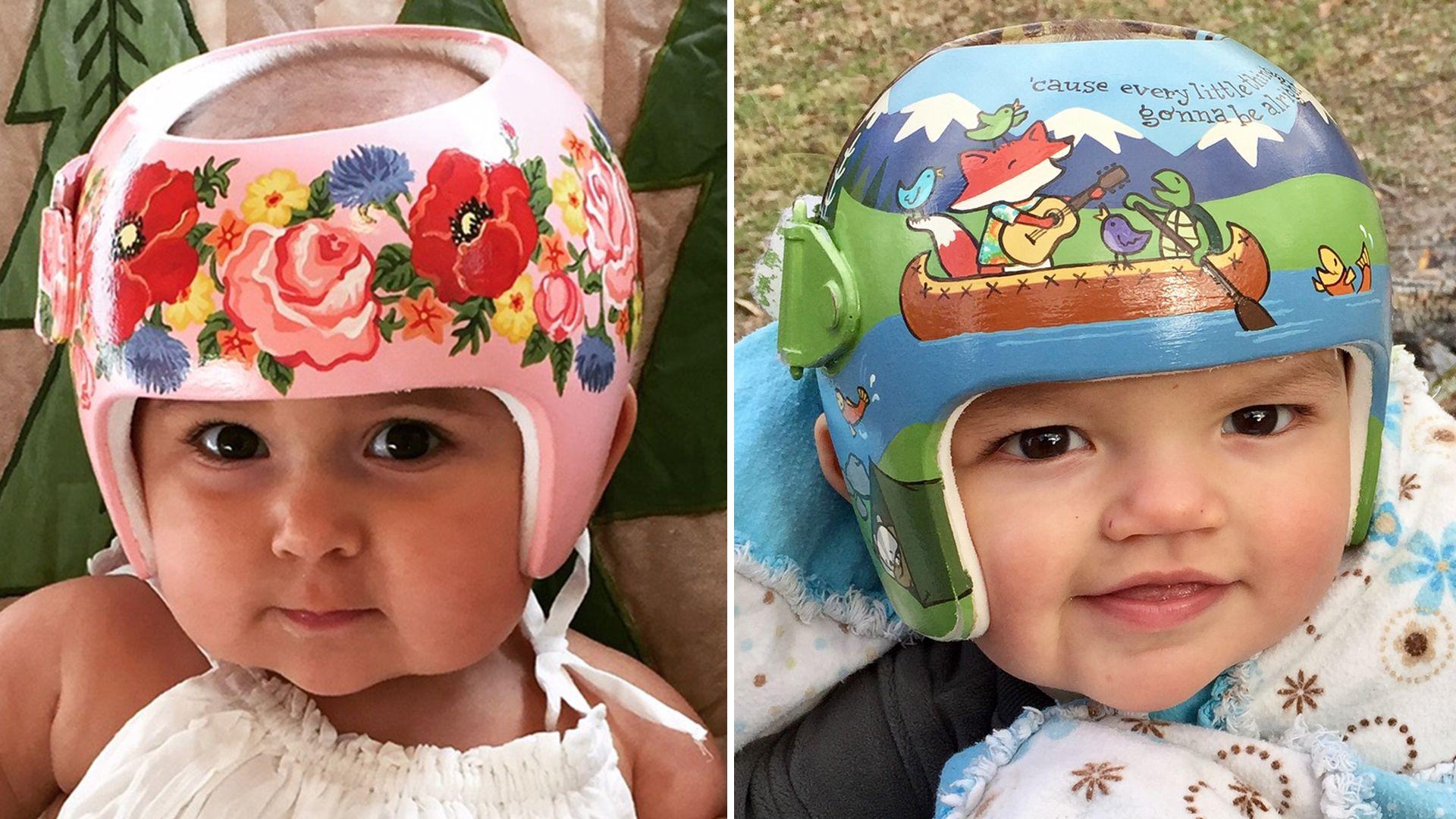 How An Artist Helps Helmet Wearing Babies Attract Smiles Not Stares Baby Helmet Helmet Paint Helmet