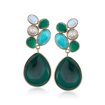 0d728831e3a65 Mixed Cabochon and Green Agate Drop Earrings in 14kt Yellow Gold ...