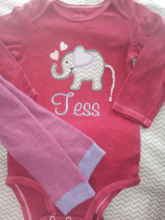 Custom Elephant Onesie Legwarmer set Valentine's Day Baby Girl Outfit personalized with name chevron preemie size available