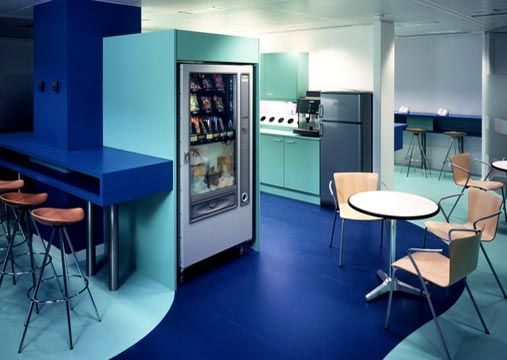 American Express Office Open workspace/ lounge Colorful