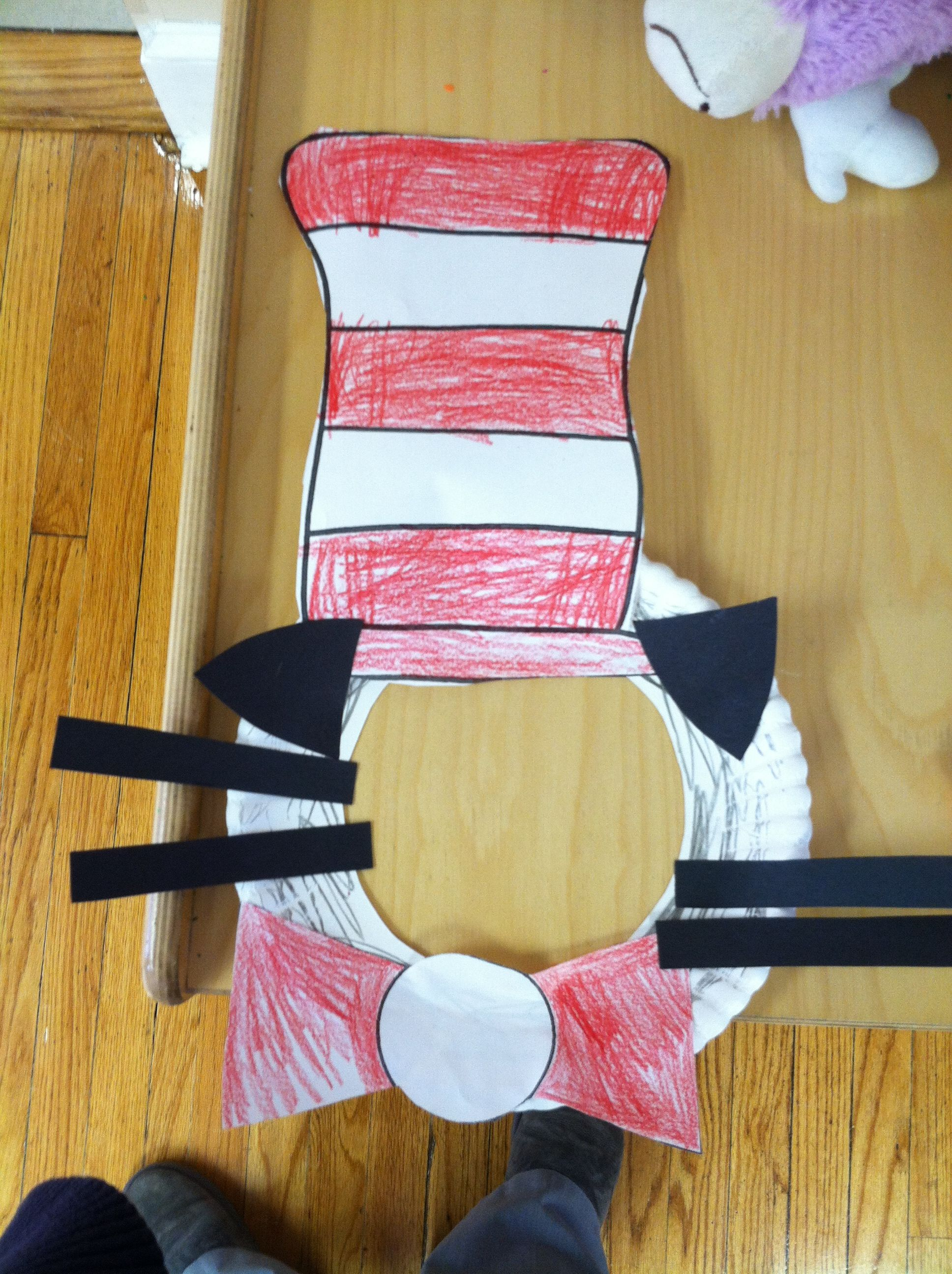 Dr Seuss Cat In The Hat Paper Plate Mask