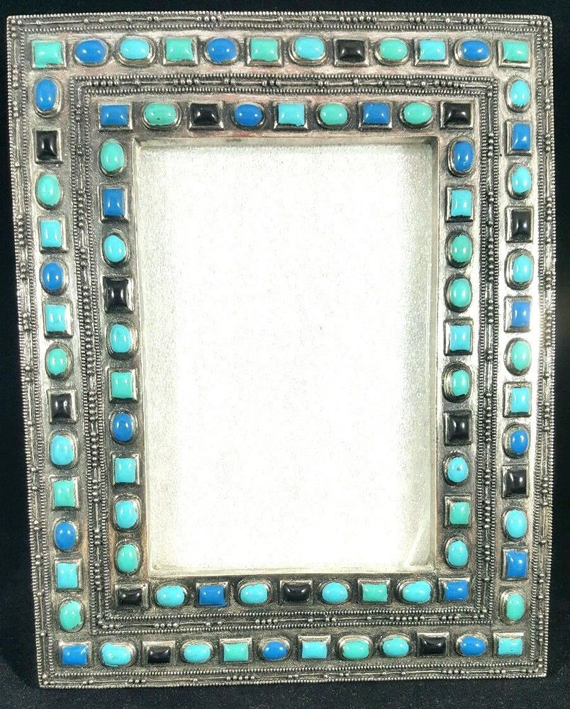 Turquoise Silver tone 3.5 x 5\