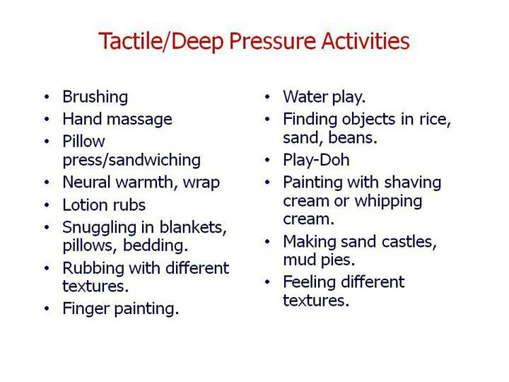 Deep pressure activities | ~ Sensory Processing Disorder SPD