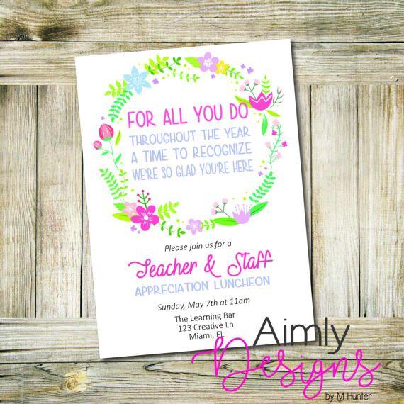 Teacher Appreciation Card Or Luncheon Invitation Pto Teacher
