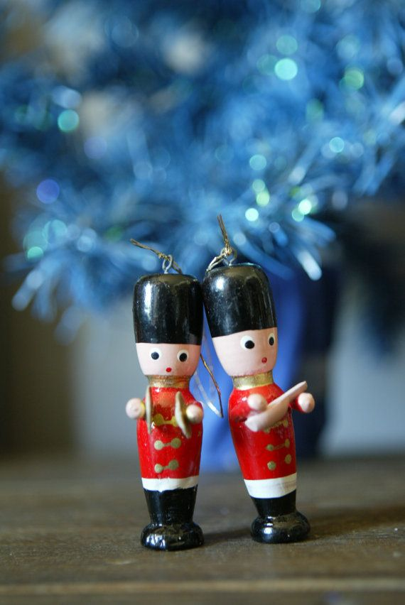 vintage pair of hand painted wooden christmas ornaments toy soldiers by interiorcontent vintagechristmas