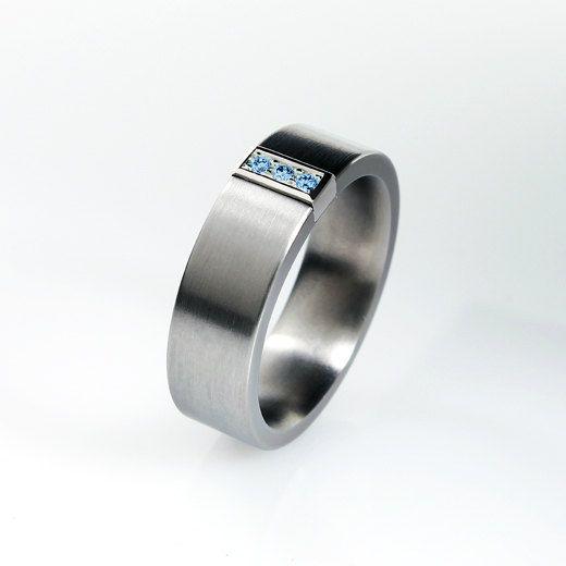 Blue diamond ring wedding band men palladium ring men diamond