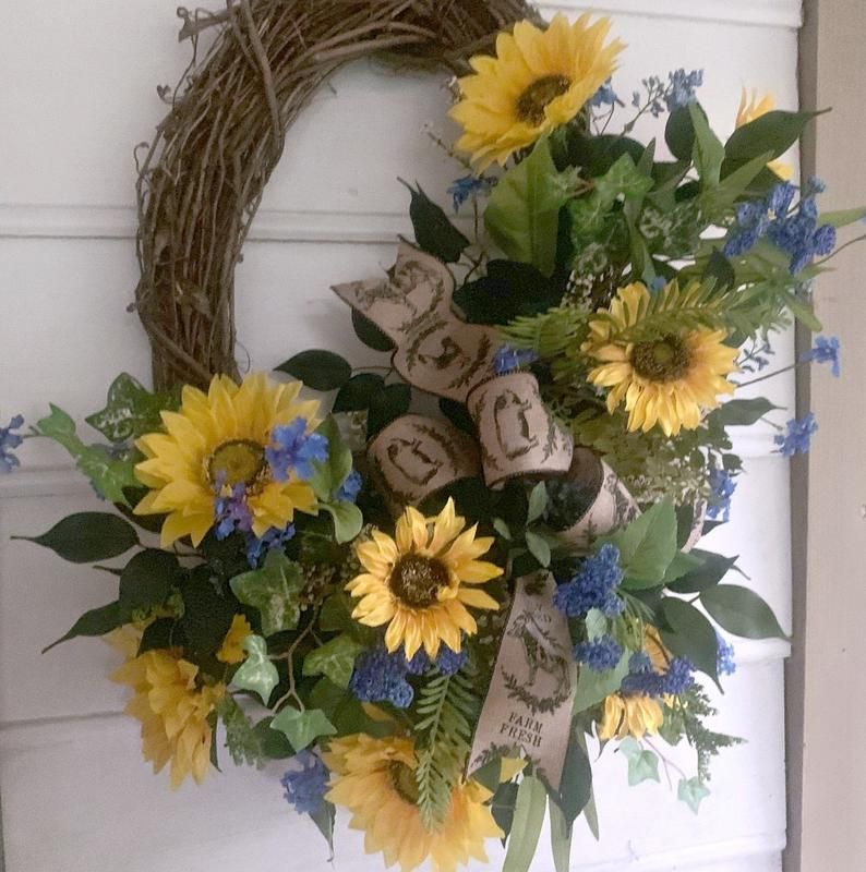 Photo of Sunflower Wreath for Spring and Summer-Sunflower Wreaths for Front Door-Sunflower Wreaths-Sunflower Wreath-Sunflower Wreath to Inspire You