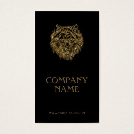 Golden wolf portrait luxurious black business card business cards golden wolf portrait luxurious black business card colourmoves