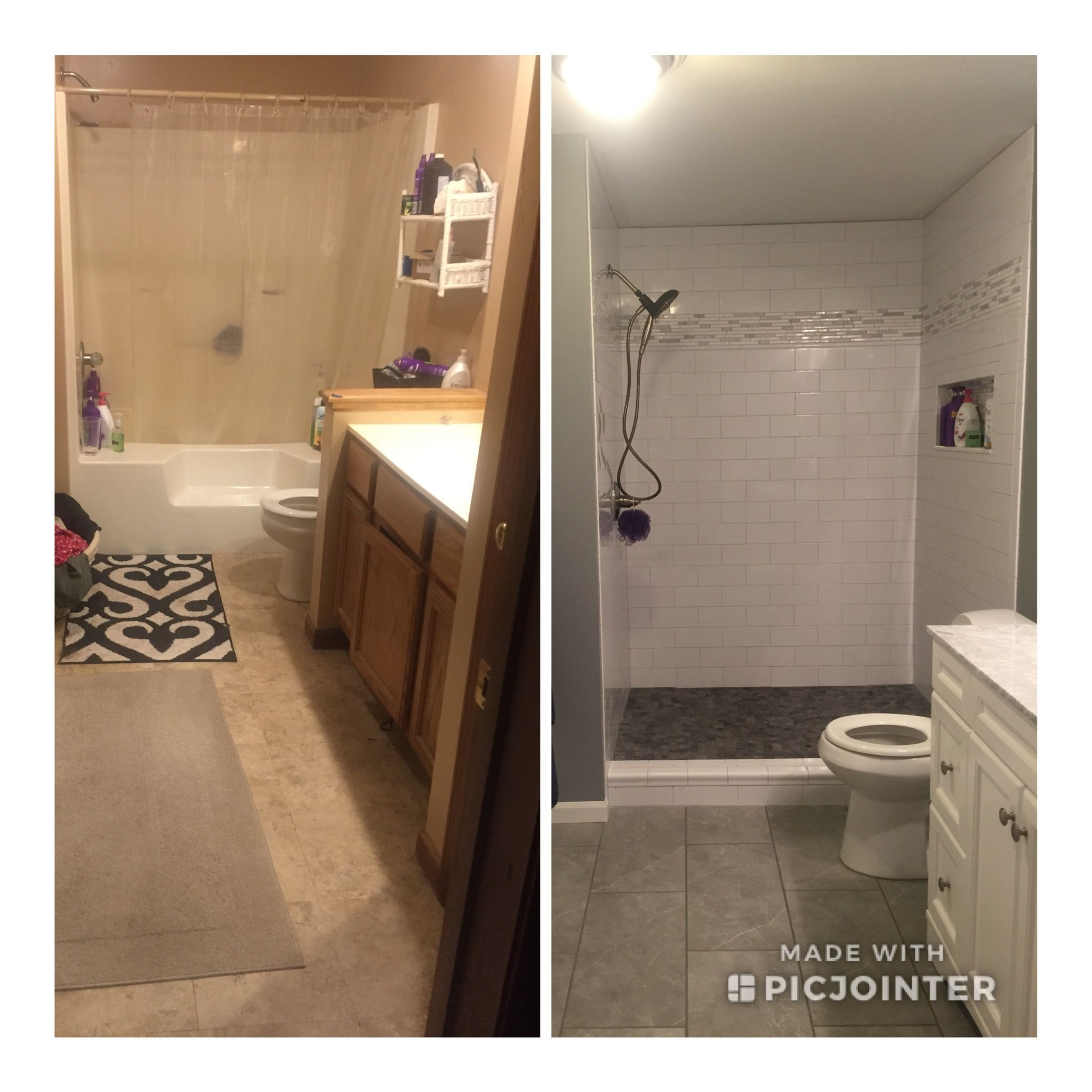 My Before And After Removed Garden Tub To Make Large Shower Replaced Single Si In 2020 Tub To Shower Conversion Tub To Shower Remodel Tub Remodel