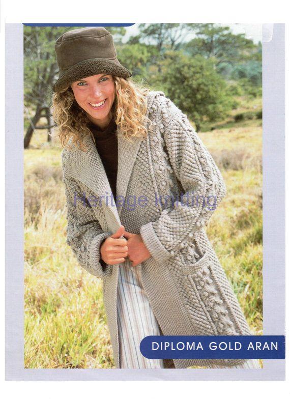 womens ladies jacket coat aran knitting pattern 99p pdf | Knitting ...