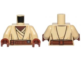 Lego New Medium Dark Flesh Minifig Torso Leather Shirt Reddish Brown Overalls