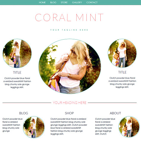 Excellent Weebly Template The Coral Mint With Website Blog And Shop All Largest Home Design Picture Inspirations Pitcheantrous