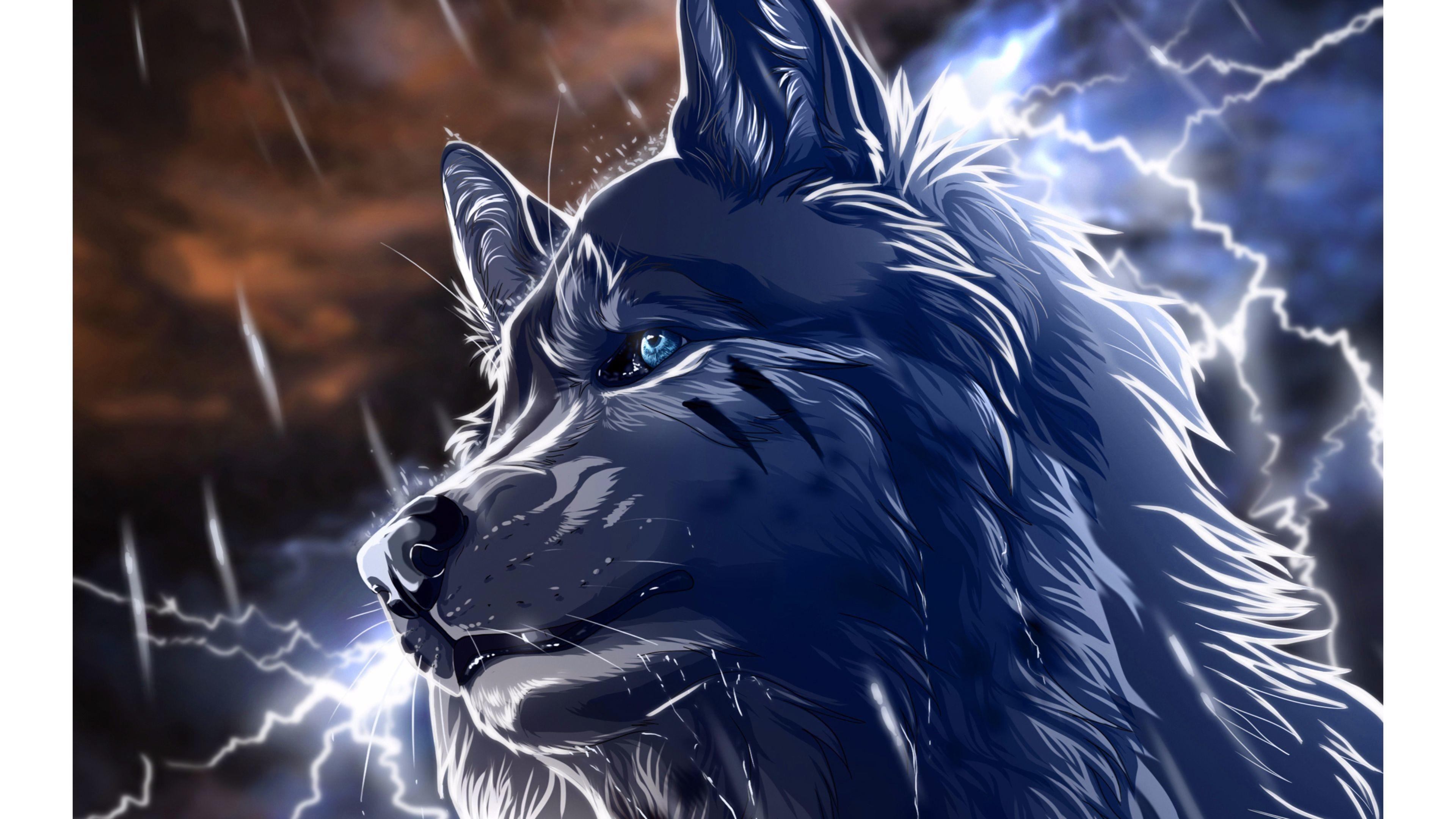 Res 3840x2160 Fond D Ecran Blue Wolf 2016 4k Anime Wolf Wallpaper Hd Anime Wallpapers Anime Wallpaper 1920x1080