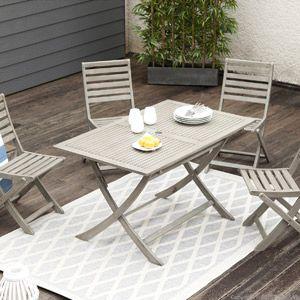 Salon de jardin table et 4 chaises en acacia grisé Silverwood ...