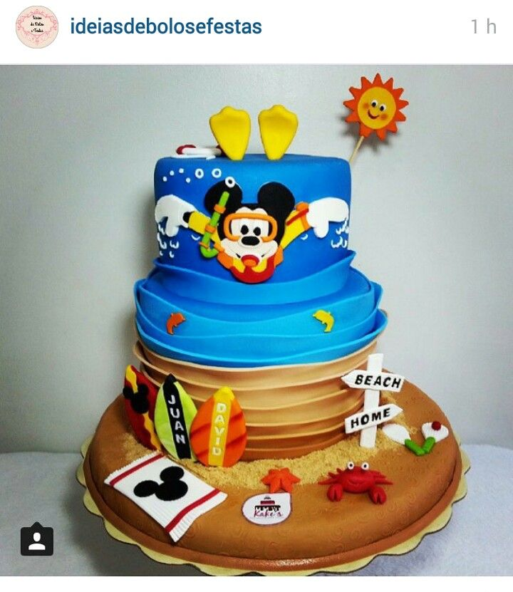 Swimming Mikey Mouse Cake Beach Birthday Cake Mickey Mouse