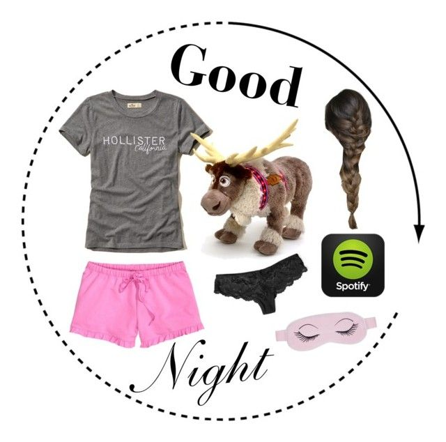 """GoodNight "" by caaaazz ❤ liked on Polyvore featuring Hollister Co., H&M, ANNIE and Disney"