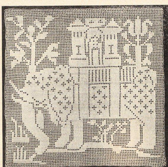Vintage crochet pattern Elephant square for bedspread pdf | Filet ...