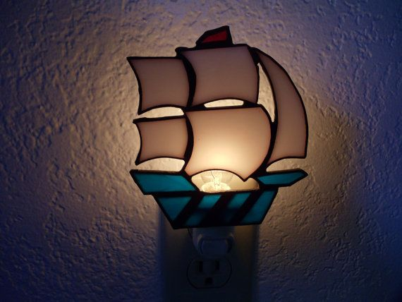 Clipper Ship Nightlight Stain Glass Boats Pinterest