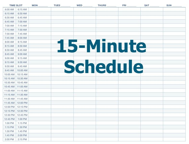 15 Minutes Makes All The Difference - time schedule template