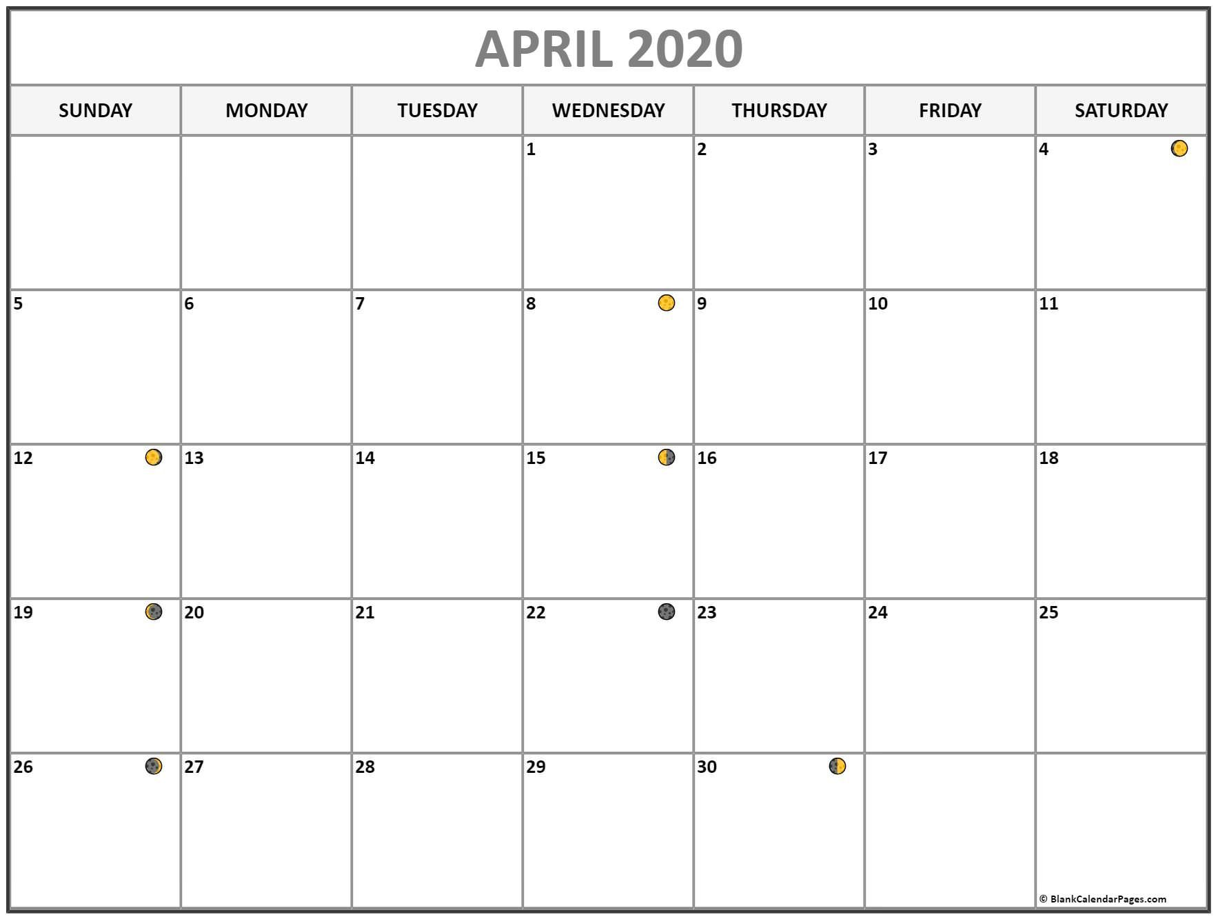 Printable April 2020 Moon Phases Calendar New Moon And Full Moon