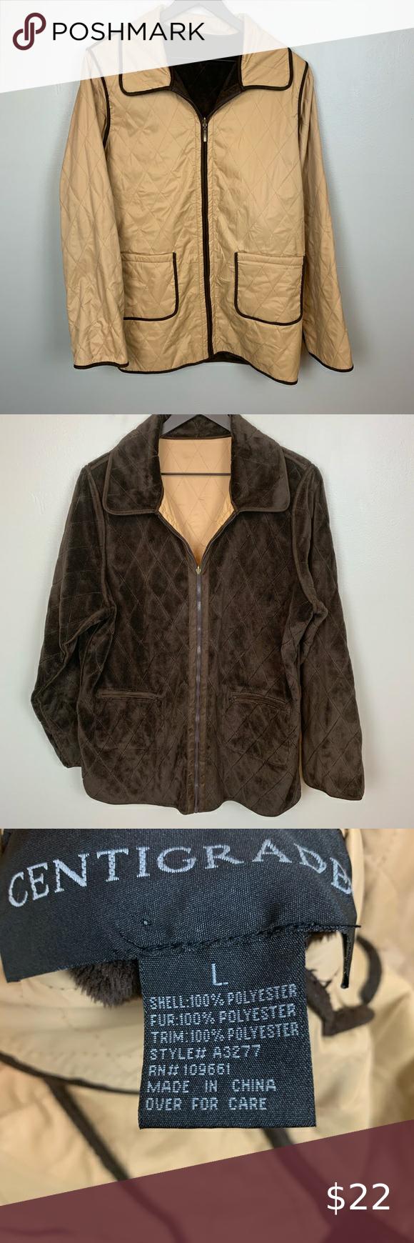 Centigrade Reversible Jacket Brown Tan Size L Reversible Jackets Jackets Jackets For Women [ 1740 x 580 Pixel ]