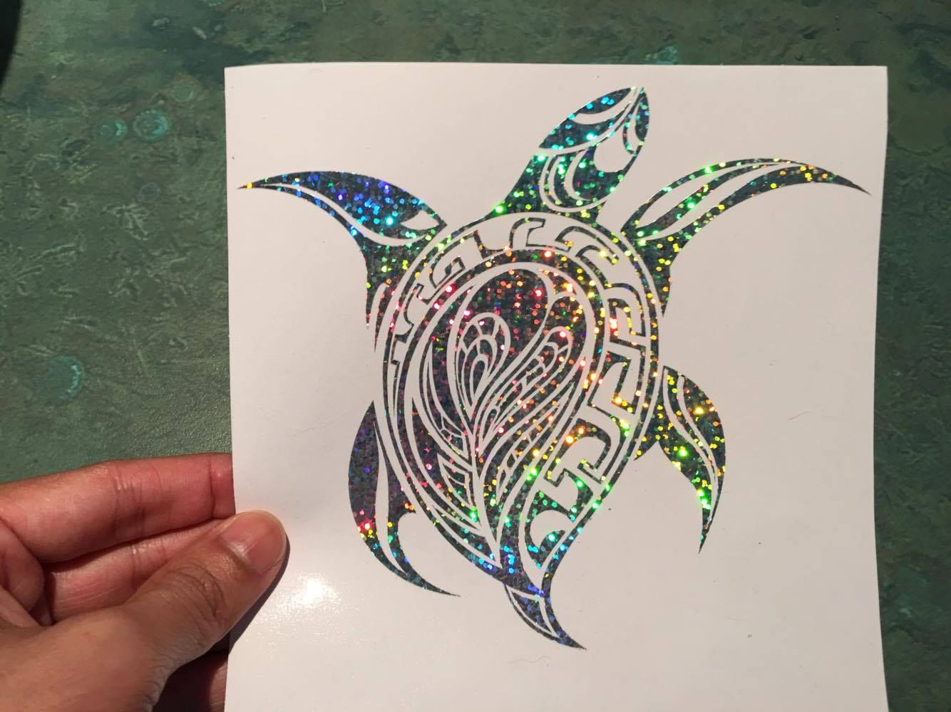 Sea Turtle Tribal Silver Glitter Holographic Vinyl Decal Sticker - Vinyl stickers for car windows