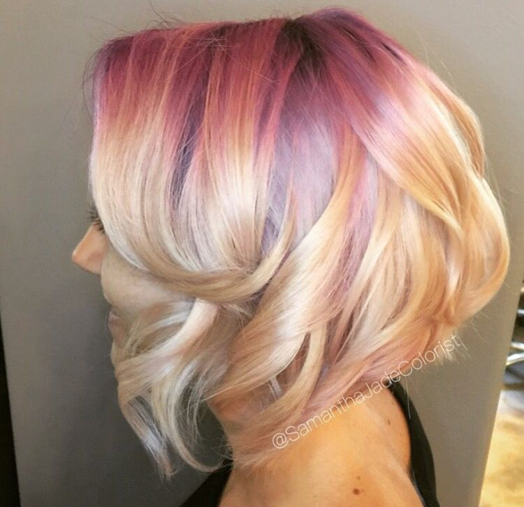 Purple And Red Roots Blonde Hair With Roots Balayage Hair Blonde Hair Styles
