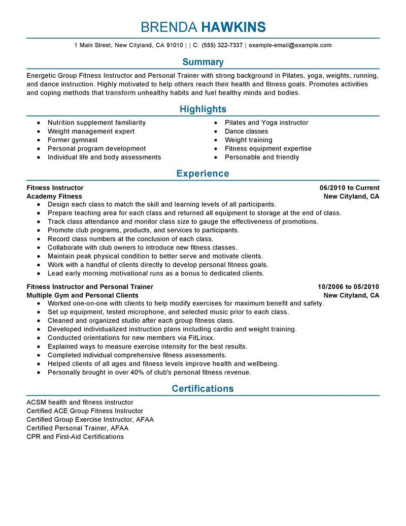 Best Resumes Examples Best Fitness And Personal Trainer Resume Example  Livecareer