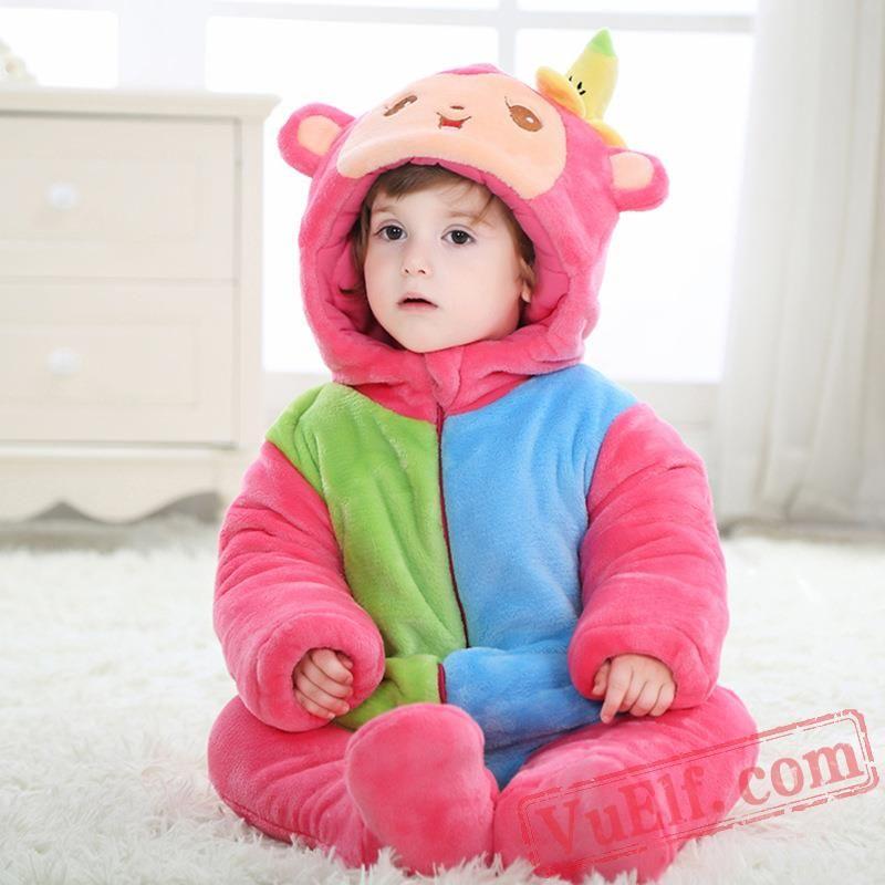 e5aeee120 Baby Cute Rainbow Monkey Kigurumi Onesie Costume