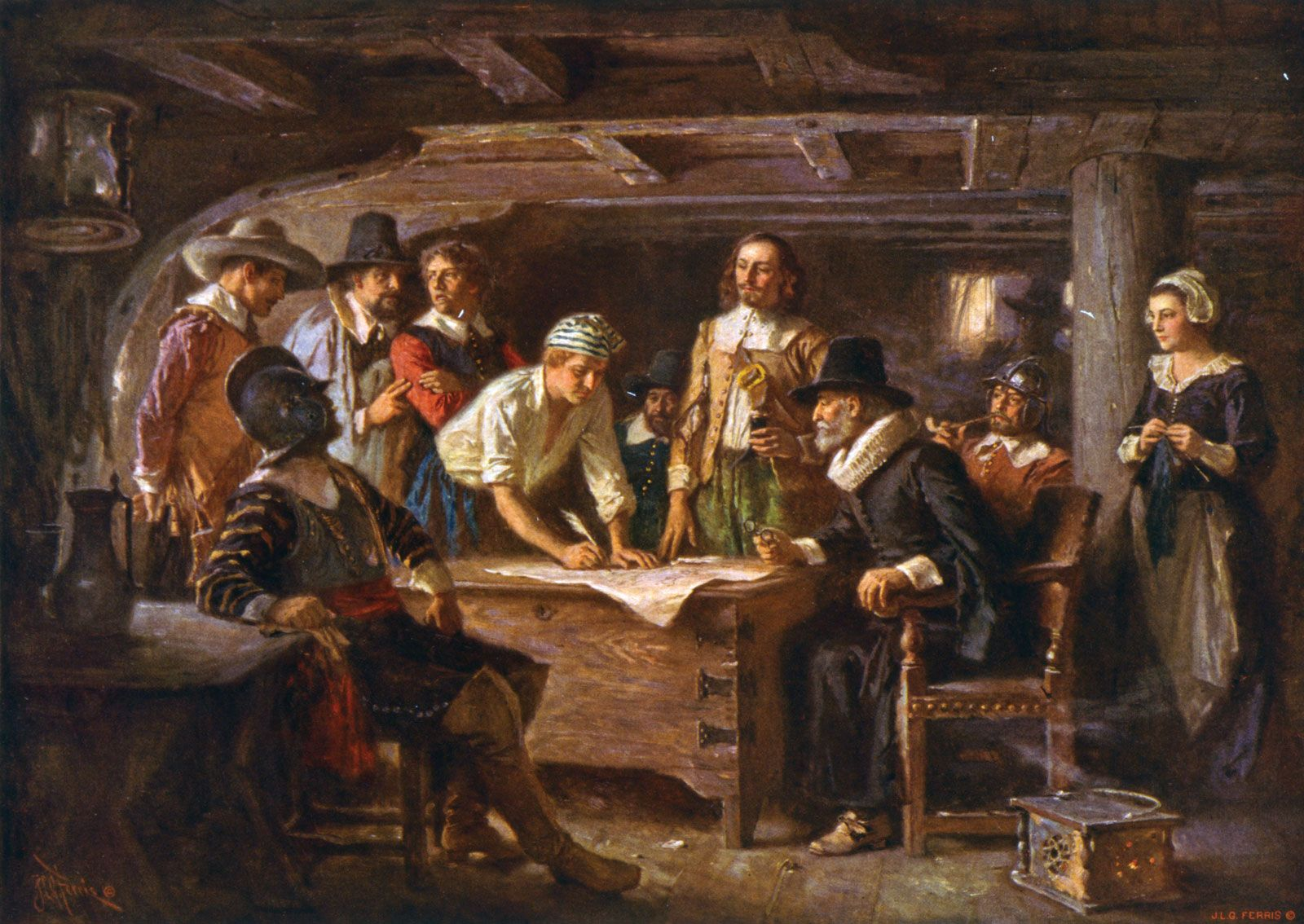 Pilgrims Signing The Mayflower Compact Reproduction Of An