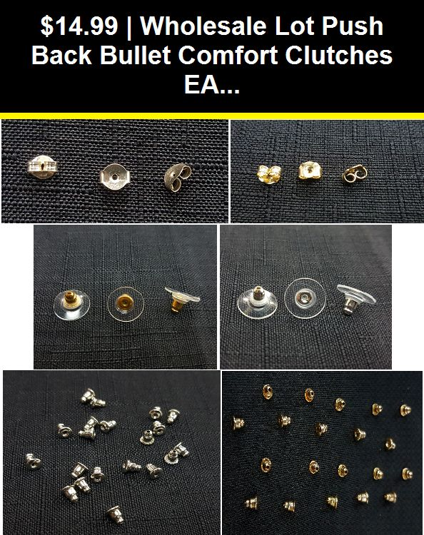 Lot of 12 Pieces Stud Comfort Clutch Earring Backs Clear with Gold Plated