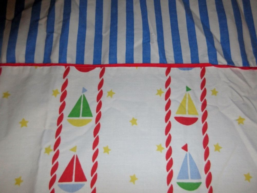 Coming Home With Lands End Twin Size Flat Sheet Sail Boat Stripe Primary Color