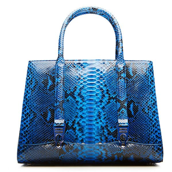 La Perla Bags Python Gloss 1954 Bag (43.490 NOK) ❤ liked on Polyvore featuring bags, dark blue, summer bags, blue bag, zip bag, snake print bag and zipper bag
