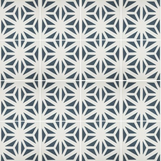 "Classic Tunis B 8"" x 8"" Encaustic Cement Tile in white and midnight blue"