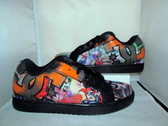 premium selection abf3d 5b485 Mens Harley Quinn and Joker DC Skate Shoes - Made to Order