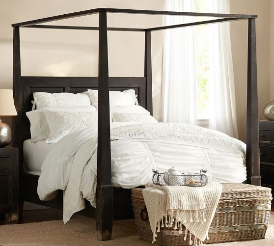 Dawson Wood Canopy Bed Queen Weathered Black Finish