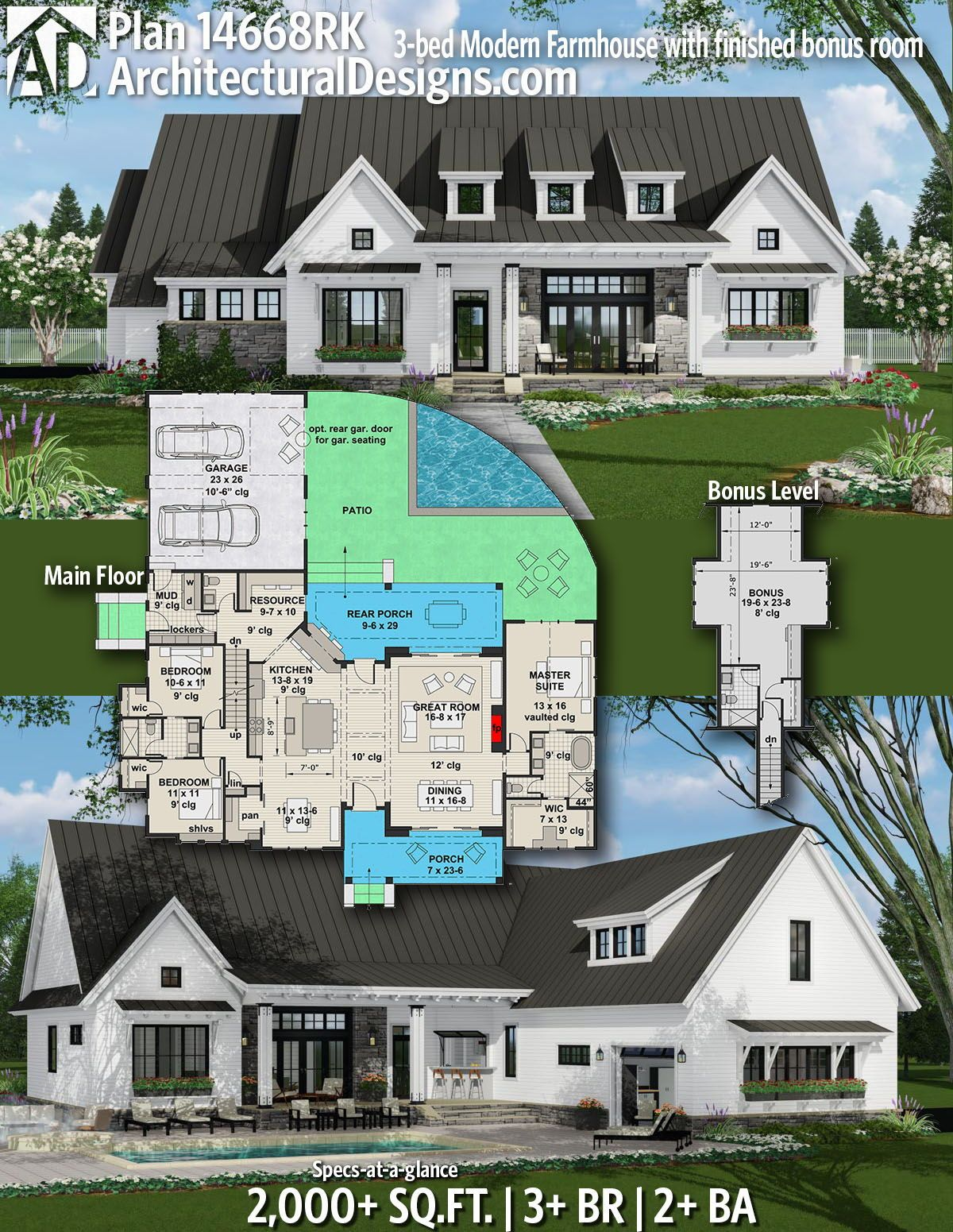 DesertRoseArchitectural Designs Farmhouse Plan 14668RK gives you