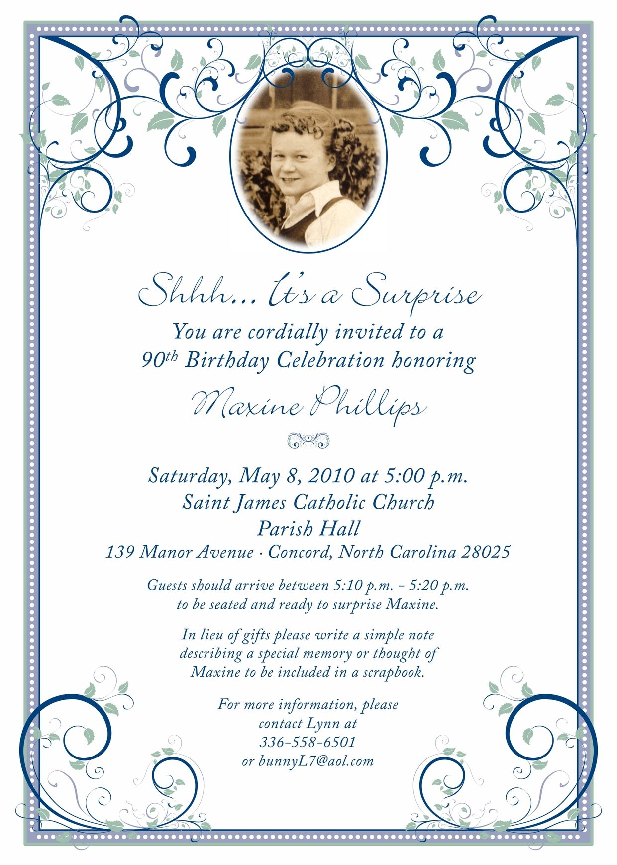 sample wording for 90th birthday invitation