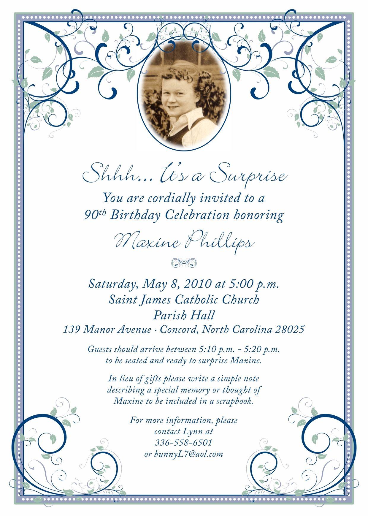 90th birthday party invitation 90th