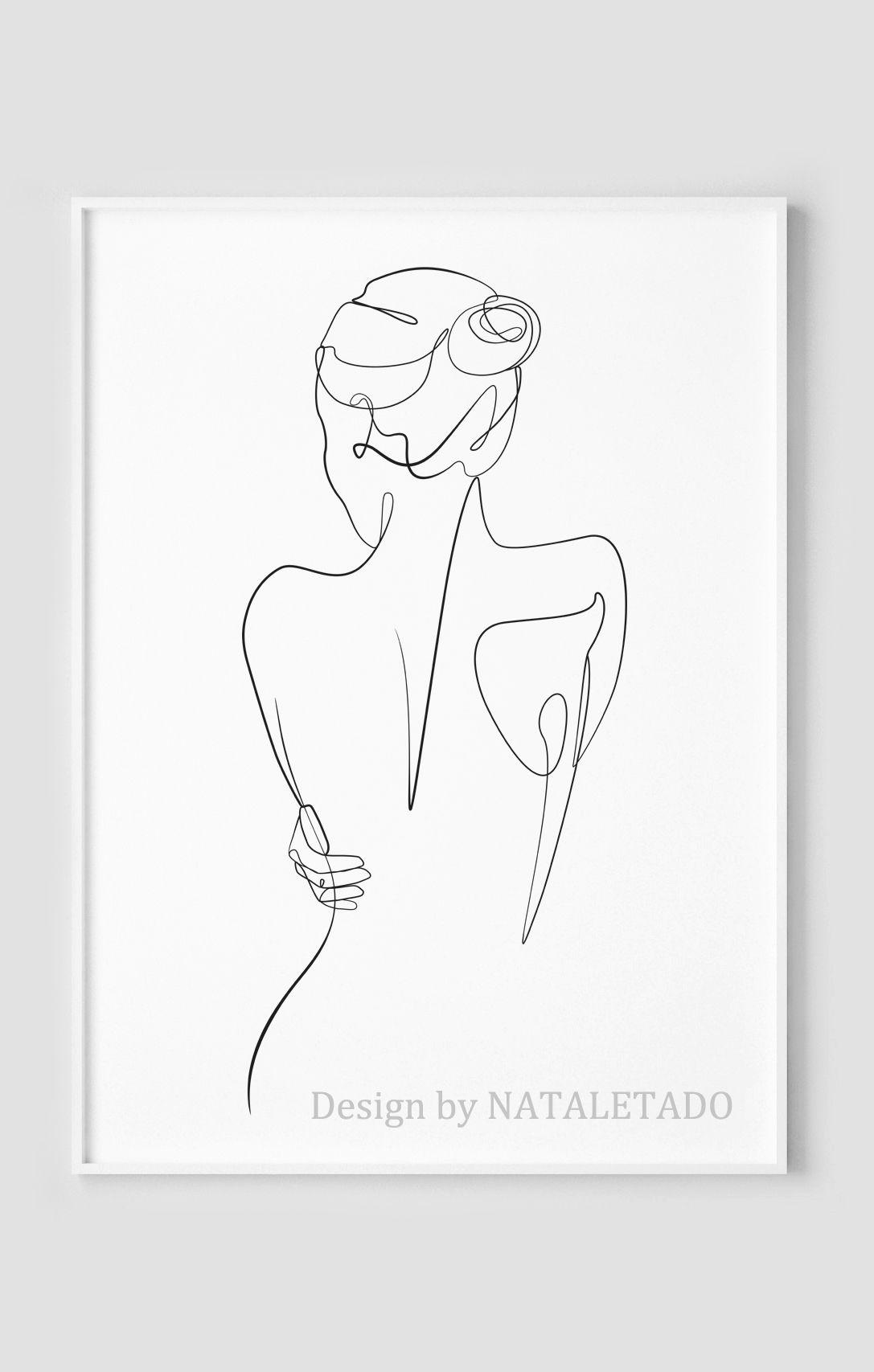 Woman body line drawing print, Printable wall art, Single line art, Nude body print, Bedroom decor