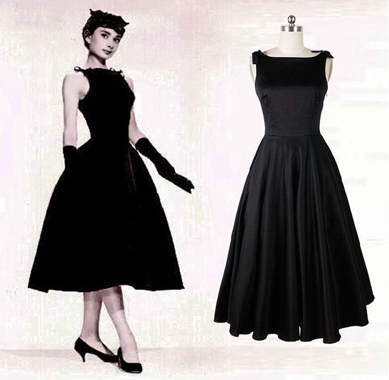 Palais Royal Black Tea Length Chiffon Dress