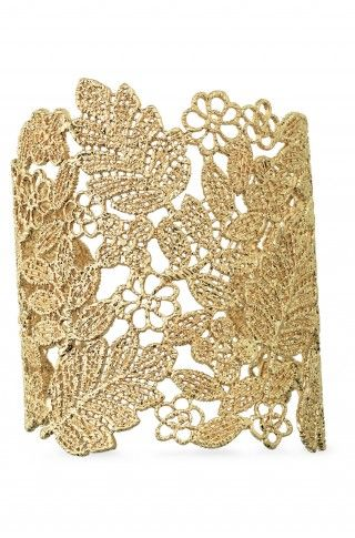 """Gold plated filigree cuff was inspired by a piece of vintage lace.  A beautiful statement piece.  As seen in Fitness Magazine.    3"""" length.  2 1/4"""" inner diameter.  Fits S-M wrists.  Lead & nickel free.  Hypo-allergenic."""