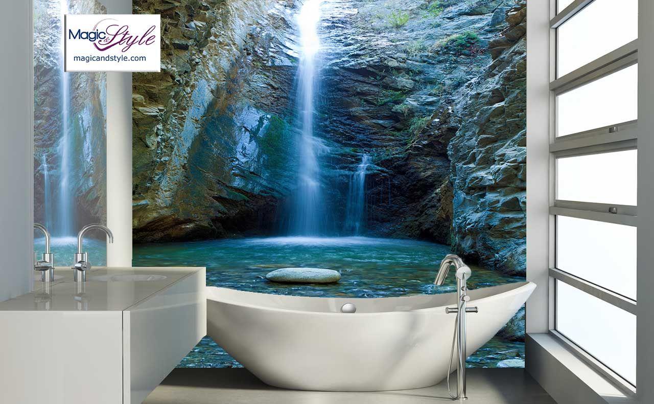 Panel Szklany Do Lazienki Wodospad W Skalach Bathtub Bathroom Paneling