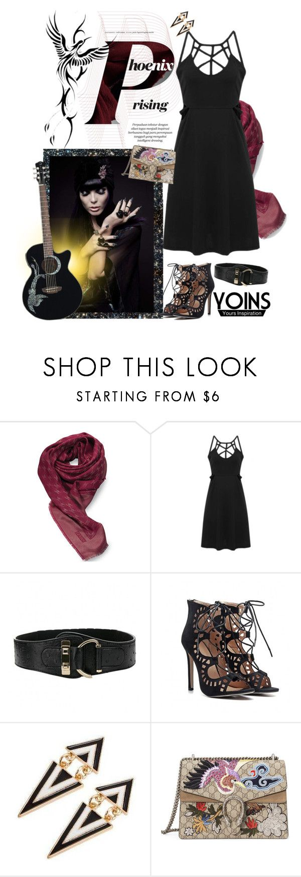 """""""Cross Front Mini Dress"""" by carola-corana ❤ liked on Polyvore featuring Rocio, LE VIAN, Gucci, vintage and yoins"""