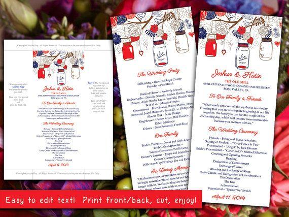 Mason Jars Wedding Program Microsoft Word Template Red Navy Blue