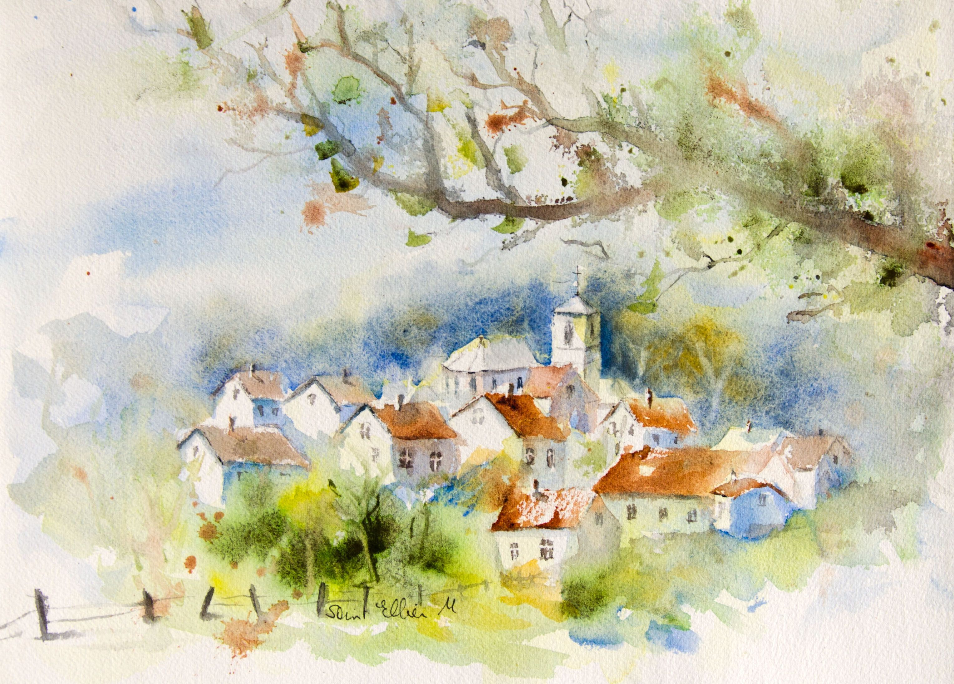 Small Original Impressionist Painting Watercolor On Watercolor