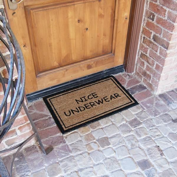 rubber cal 39 nice underwear funny doormat 39 coconut mat 18 x 30 18 x 30. Black Bedroom Furniture Sets. Home Design Ideas
