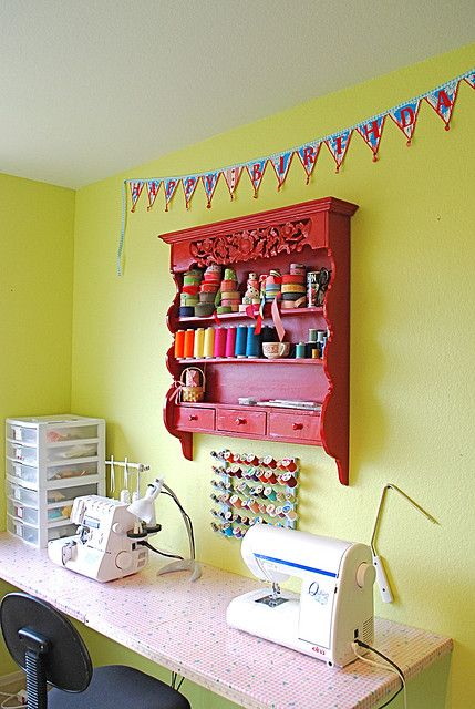 Sewing room - love the wall unit